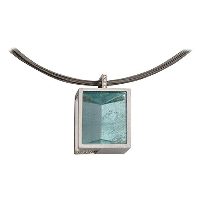 White Gold with Diamond Pave' Mirror Cut Aquamarine Pendant For Sale