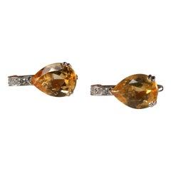 White Gold 18k Yellow Citrine and Diamond Earrings