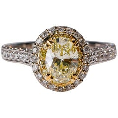 White Gold Yellow Diamond Halo Engagement Ring Designed by Natalie K in Stock
