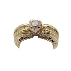 White Gold/Yellow Gold Cathedral Diamond Engagement Ring