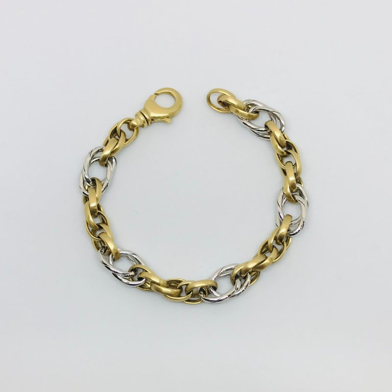 Contemporary White Gold Yellow Gold Handmade Woven Link Bracelet For Sale