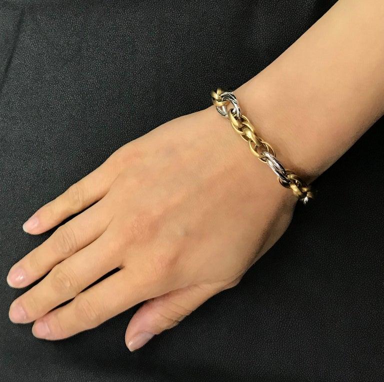White Gold Yellow Gold Handmade Woven Link Bracelet For Sale 1