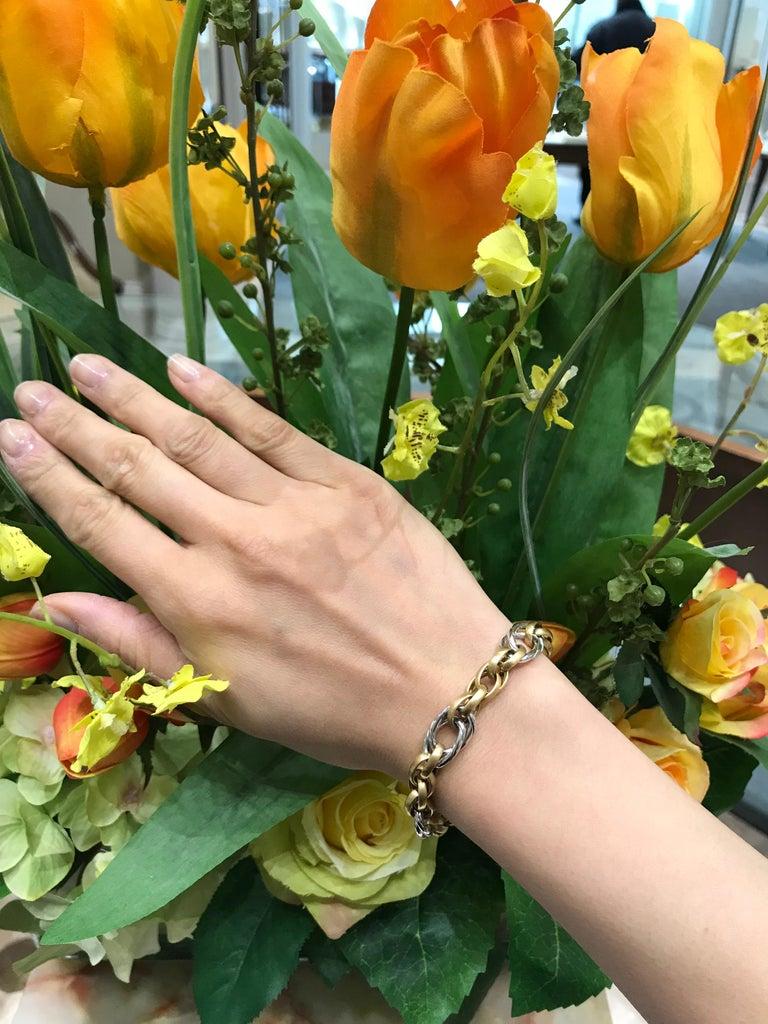 White Gold Yellow Gold Handmade Woven Link Bracelet For Sale 2