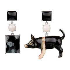 TPL White Gold, Pink Quartz Onyx Pig Earrings