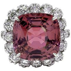 White Golden 15.80 Carat Natural Pink N/H Spinel Diamond Ring