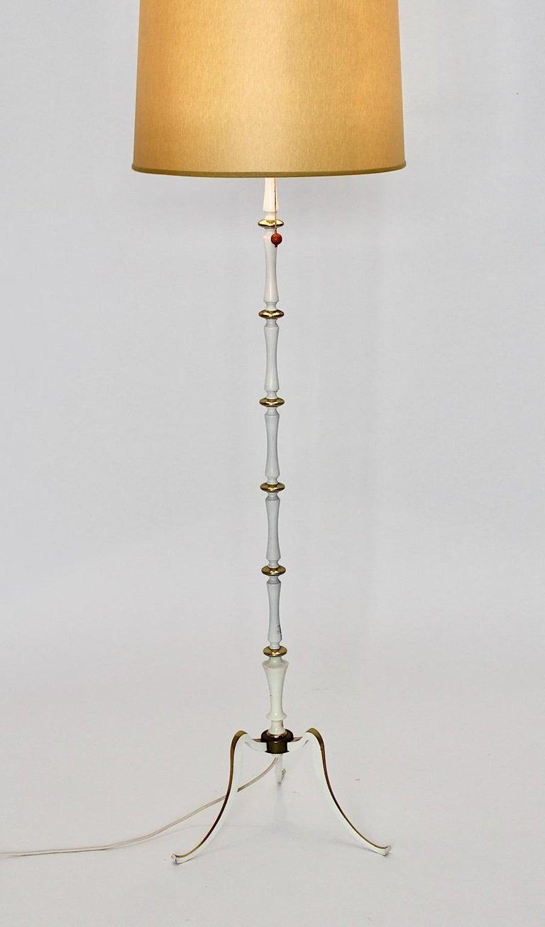 Mid-Century Modern White Golden Metal Vintage Floor Lamp Mid Century Modern, 1950s, Italy For Sale