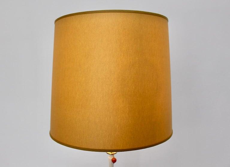 White Golden Metal Vintage Floor Lamp Mid Century Modern, 1950s, Italy For Sale 1
