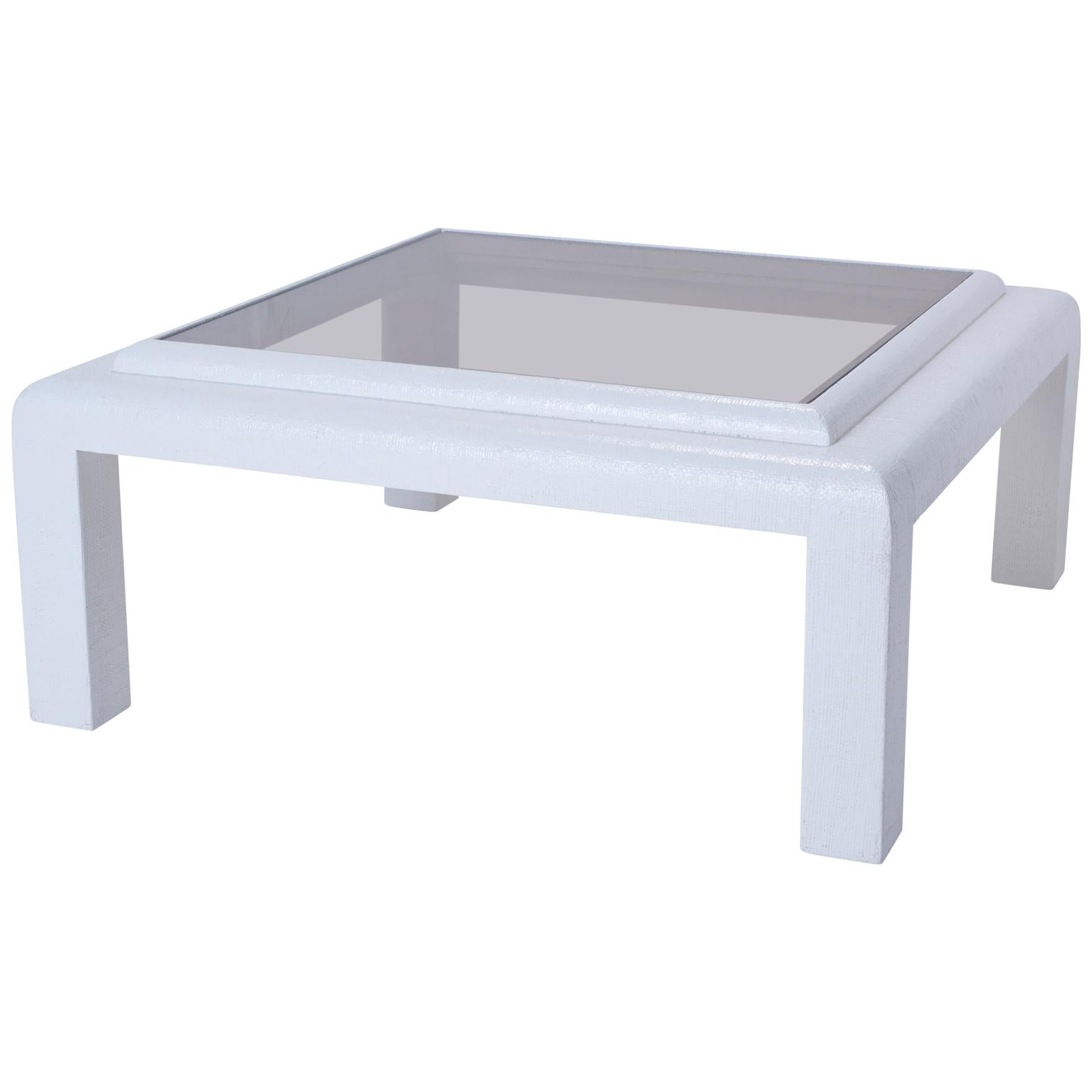 White Grasscloth Coffee Table with Smoked Glass