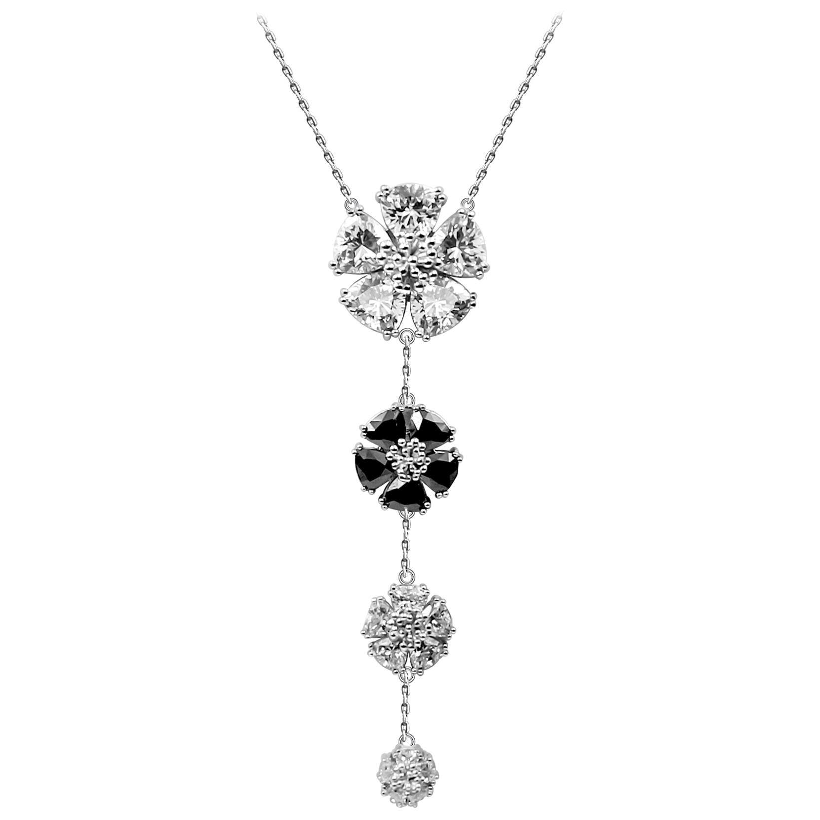 White Topaz, Gray & Black Spinel Graduated Blossom Stone Lariat Necklace