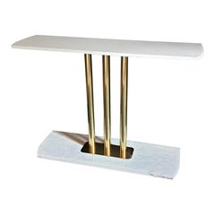 White and Gray Carrara Marble and Brass Mid-Century Modern Console Table, Italy