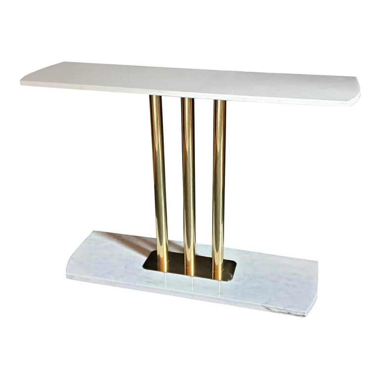 White and Gray Carrara Marble and Brass Mid-Century Modern Console Table, Italy For Sale