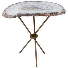 White, Grey Cream Geode Quartz Slab Side Table