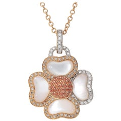 White GSI and Brown Diamonds Orange Sapphires 18 Karat Pink Gold Flower Necklace