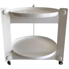 White Guzzini Tray Table, Trolley, by Luigi Massoni, 1970s