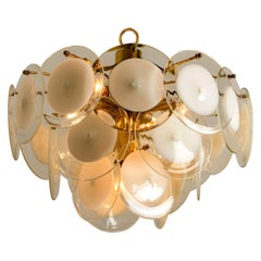 White Hand Blown Glass and Brass Chandelier in the Style of Vistosi, Italy