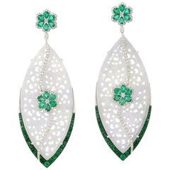 White Hand Carved Jade with Emerald and Diamonds in 18 Karat White Gold