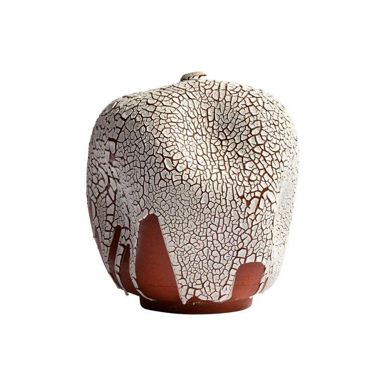 White Hand Made Contemporary Ceramic Vase / Interior Sculpture / Wabi Sabi For Sale