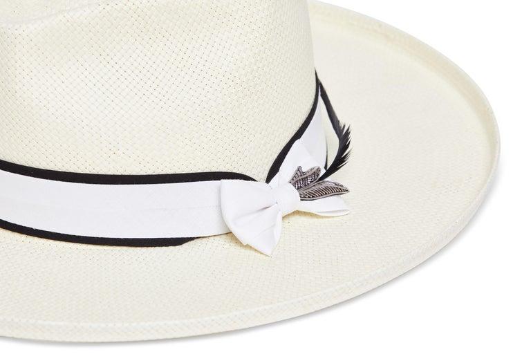 Women's White handmade embellished hat NWOT For Sale