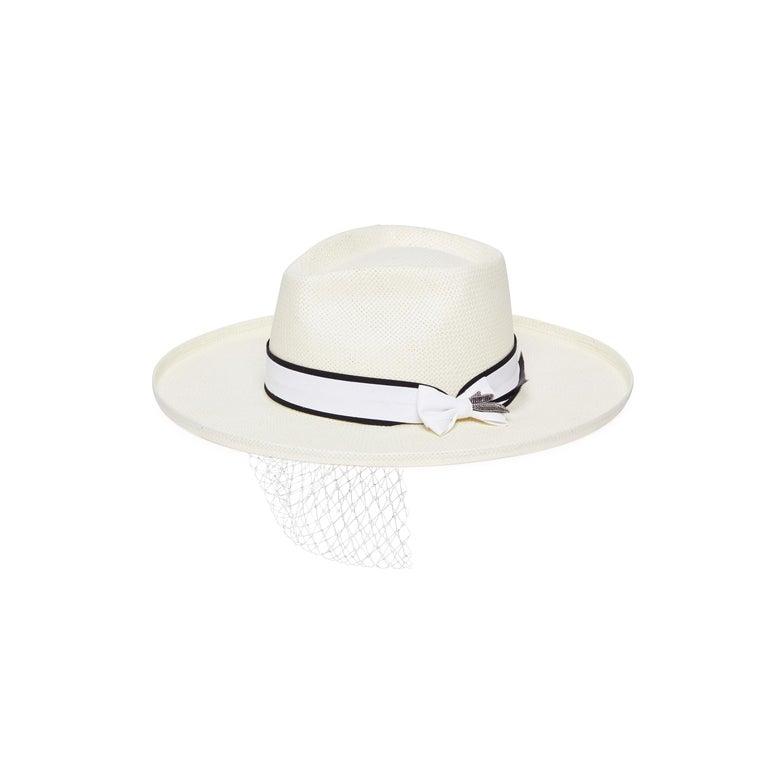 White handmade embellished hat NWOT For Sale