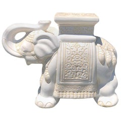 White Happy Lucky Elephant with Trunk Up Garden Stool or Side Table