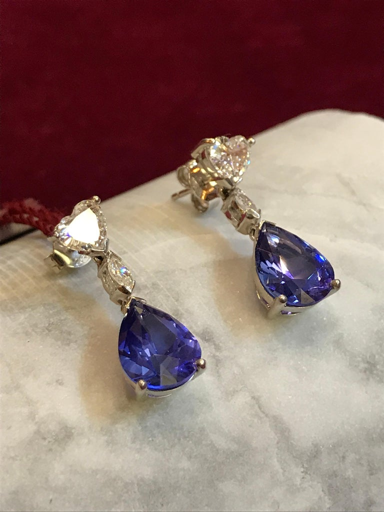 Women's White Heart shaped Diamond and Tanzanite Drop Earrings For Sale