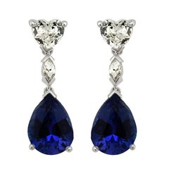 White Heart shaped Diamond and Tanzanite Drop Earrings