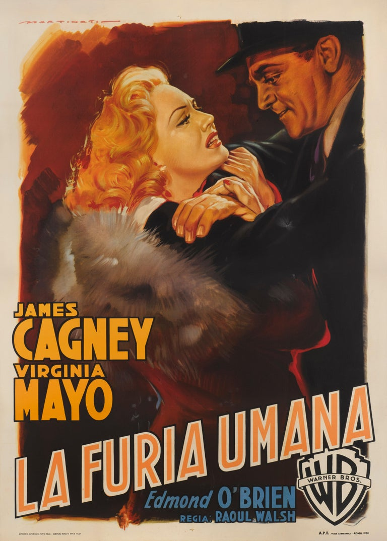 Original Italian film poster for White Heat, 1949. This film was directed by Raoul Walsh, and stars James Cagney, Virginia Mayo and Edmond O'Brien. Cagney was synonymous with gangster roles as he had played these parts since Public Enemy in 1931. He