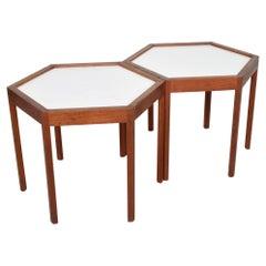 White Hexagonal Solid Teak Side Tables by Hans C Andersen 1960s Denmark