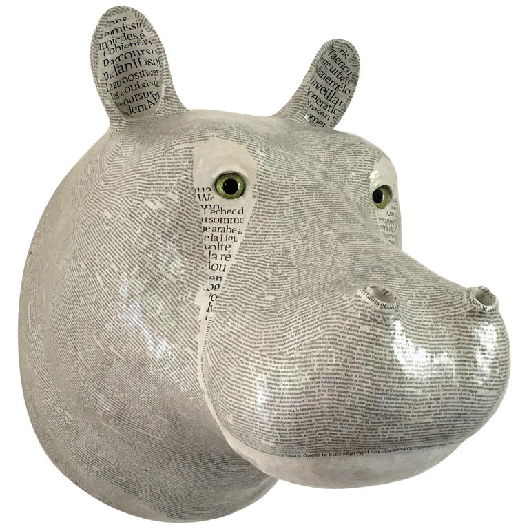 White Hippopotamus Papier-Mâché Trophy For Sale