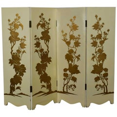 White Hollywood Regency Boho Chic 4 Panel Folding Screen Floral Embossed Design