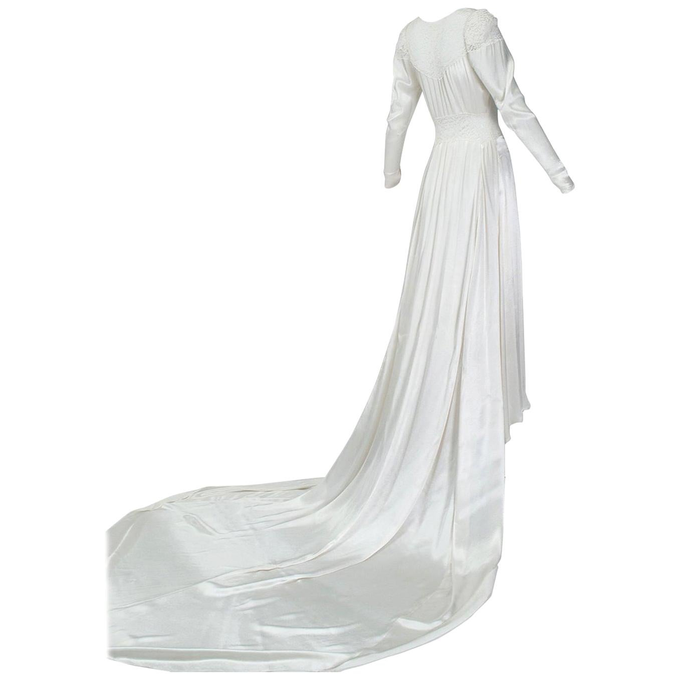 White Hollywood Regency Illusion Wedding Gown with Cathedral Train - XS, 1930s