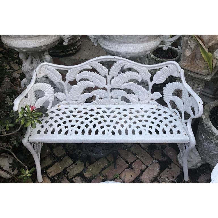 American White Hollywood Regency Wrought Iron Patio Furniture Set in Fern or Palm Design For Sale