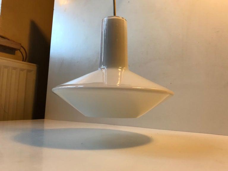 Danish White Holmegaard Opaline Pendant Lamp 'Sinus' by Sidse Werner For Sale