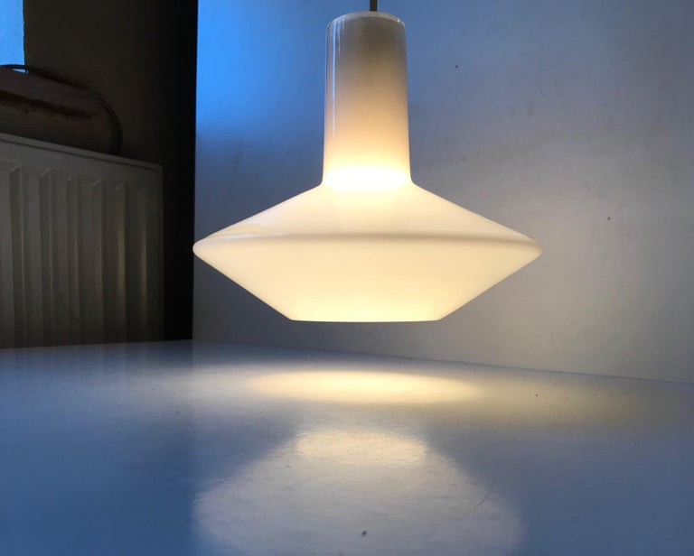 Late 20th Century White Holmegaard Opaline Pendant Lamp 'Sinus' by Sidse Werner For Sale