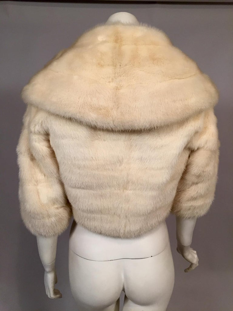 White Horizontal Mink Bolero Jacket with Oversized Shawl Collar In Excellent Condition For Sale In New Hope, PA