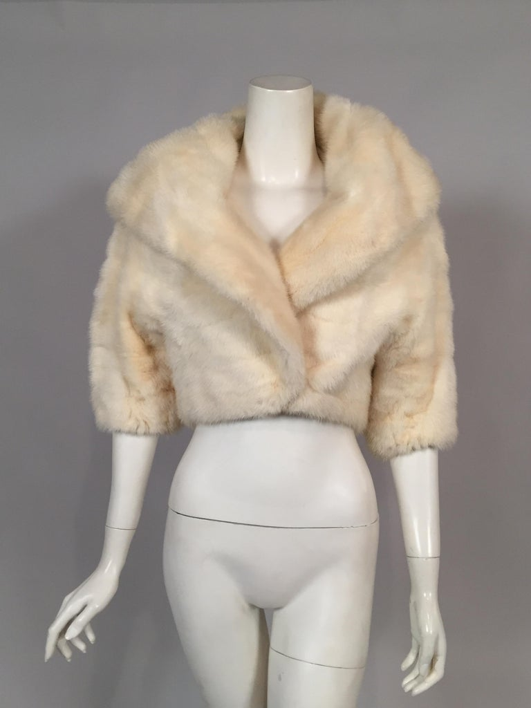 Women's  White Horizontal Mink Bolero Jacket with Oversized Shawl Collar For Sale