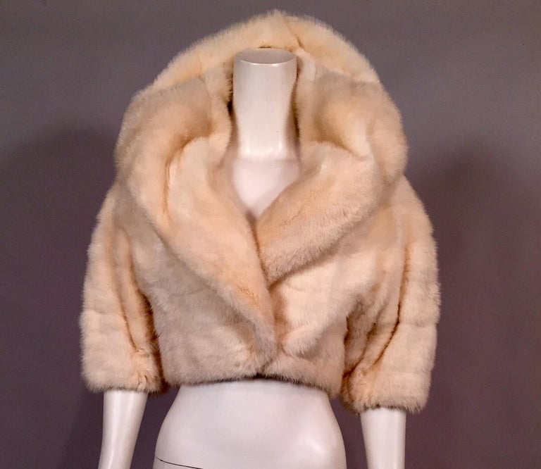 White Horizontal Mink Bolero Jacket with Oversized Shawl Collar For Sale 2