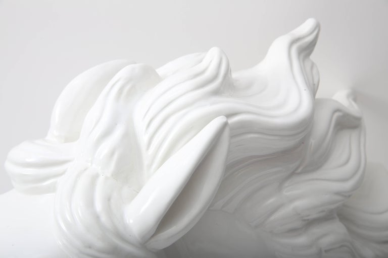 Molded White Horse Head Sculpture For Sale