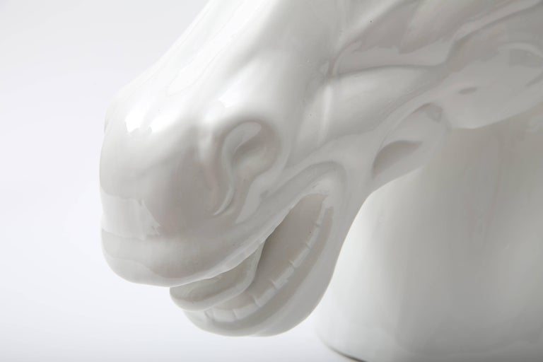White Horse Head Sculpture In Good Condition For Sale In West Palm Beach, FL