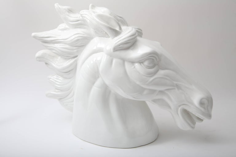 20th Century White Horse Head Sculpture For Sale
