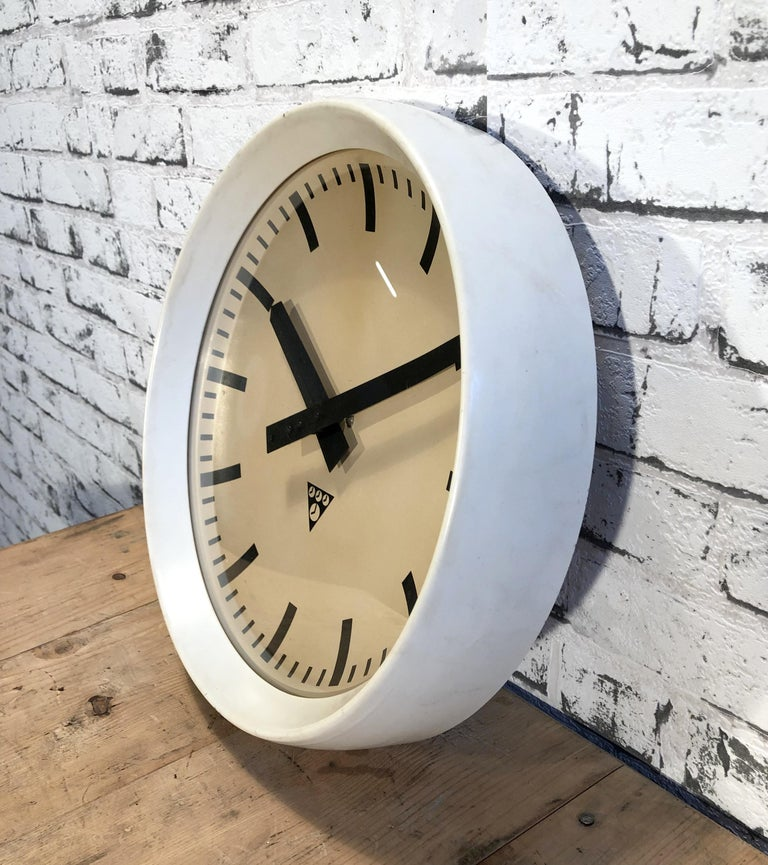 Czech White Industrial Bakelite Factory Wall Clock from Pragotron, 1960s For Sale