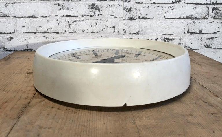 Aluminum White Industrial Bakelite Factory Wall Clock from Pragotron, 1960s For Sale