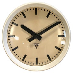 White Industrial Bakelite Factory Wall Clock from Pragotron, 1960s