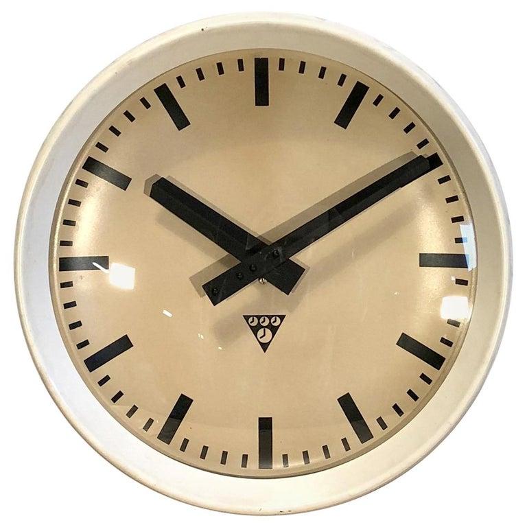 White Industrial Bakelite Factory Wall Clock from Pragotron, 1960s For Sale
