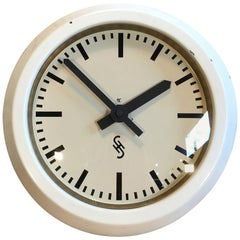 White Industrial Factory Wall Clock from Siemens & Halske, 1950s