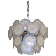 White Iridescent Murano Glass Disc Chandelier Attributed to Vistosi