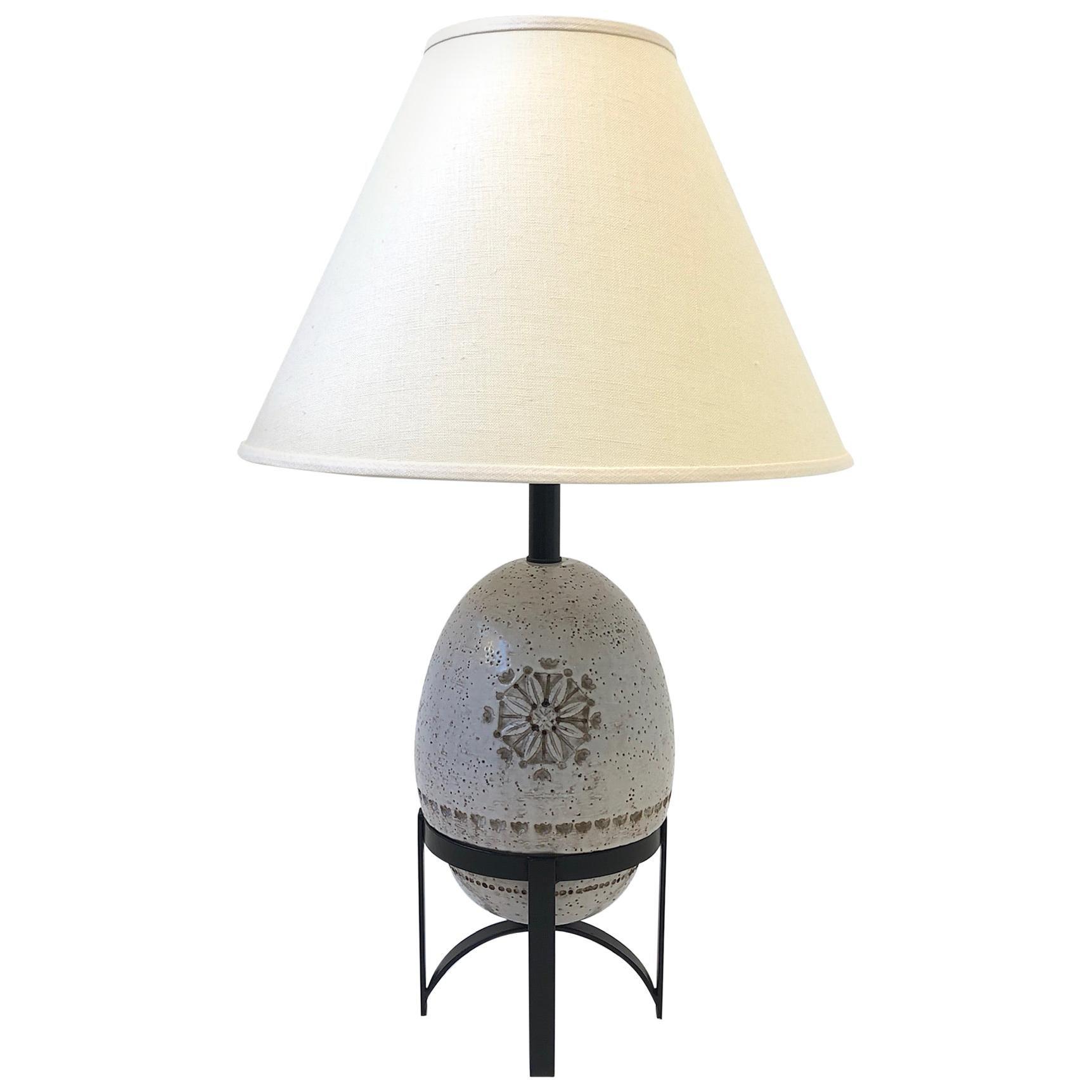 White Italian Ceramic Table Lamp by Bitossi
