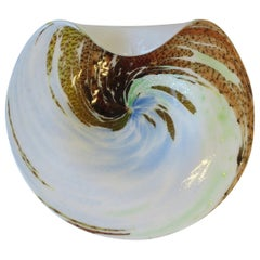 White Italian Murano Art Glass Bowl