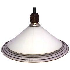 White Italian Murano Art Glass Dish Shape Swirl Pendant Light
