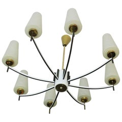 White Italian 'Nearly' Flush Mount Chandelier with Brass and Art Glass